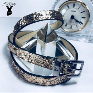 Accessories - New York & Company Gold glitter belt